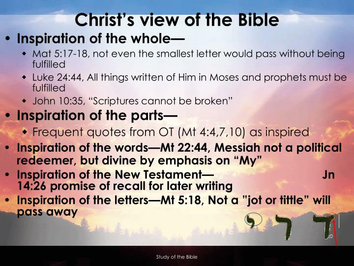 Christ's view of the Bible
