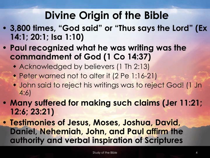 Divine Origin of the Bible