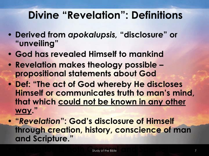"Divine ""Revelation"": Definitions"