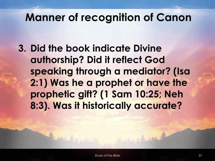 Manner of recognition of Canon