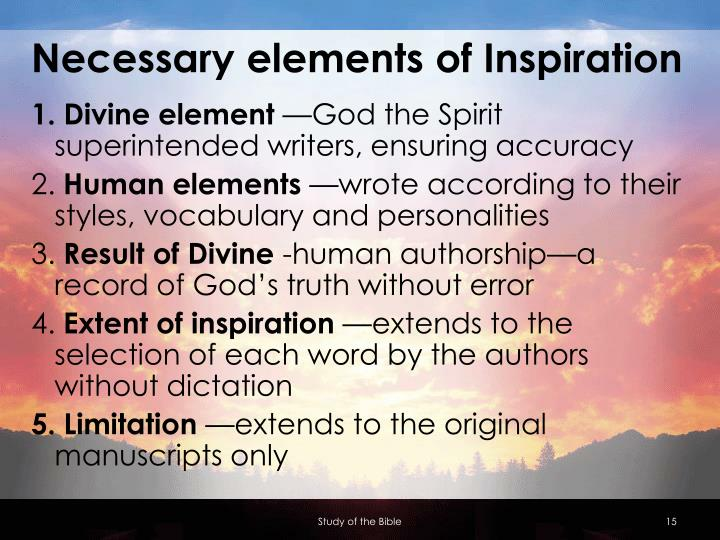 Necessary elements of Inspiration