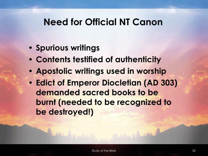 Need for Official NT Canon