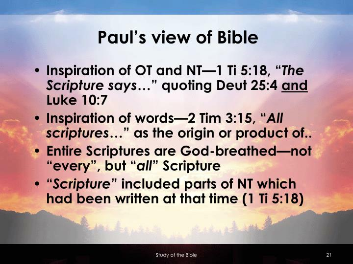 Paul's view of Bible