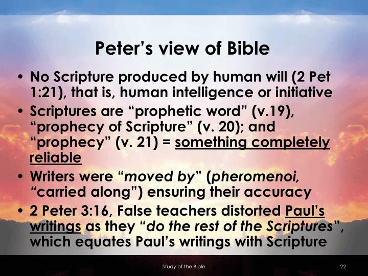 Peter's view of Bible