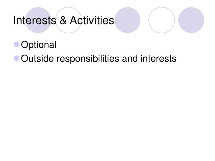 Interests & Activities
