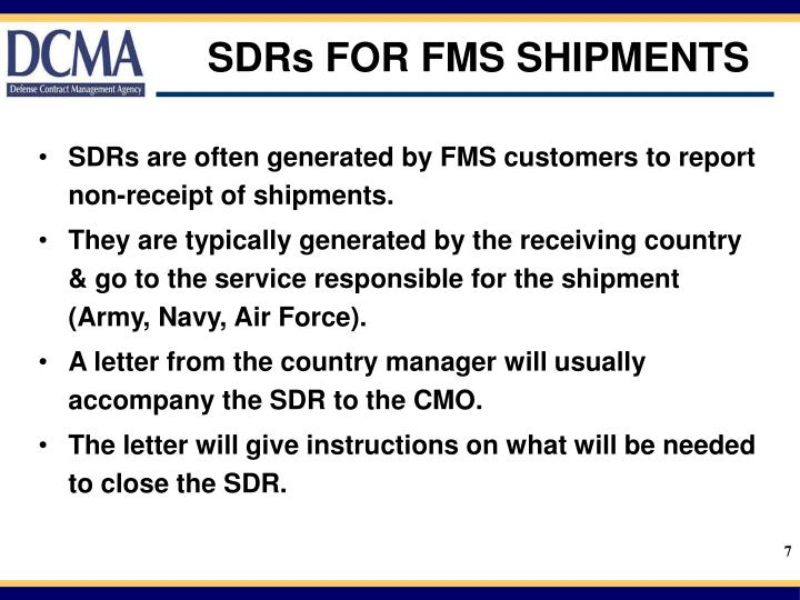 SDRs FOR FMS SHIPMENTS