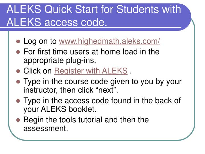 ALEKS Quick Start for Students with