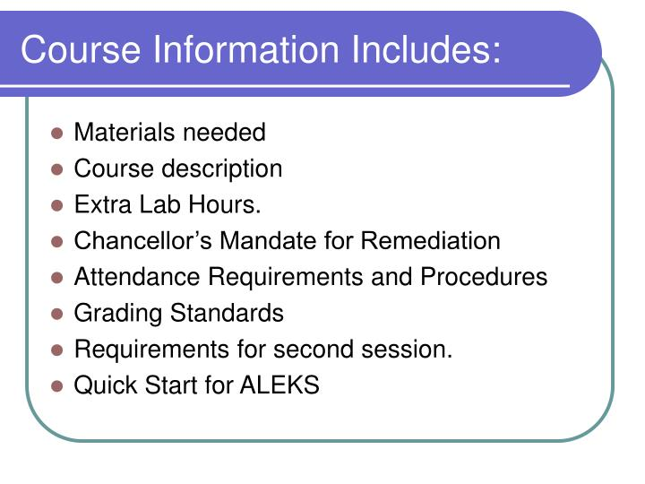 Course information includes