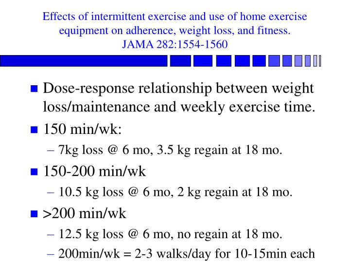 Effects of intermittent exercise and use of home exercise equipment on adherence, weight loss, and fitness.