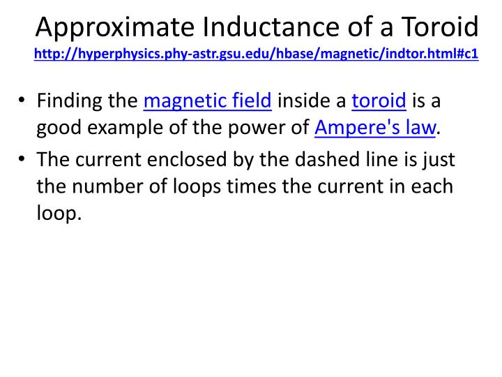 Approximate Inductance of a Toroid