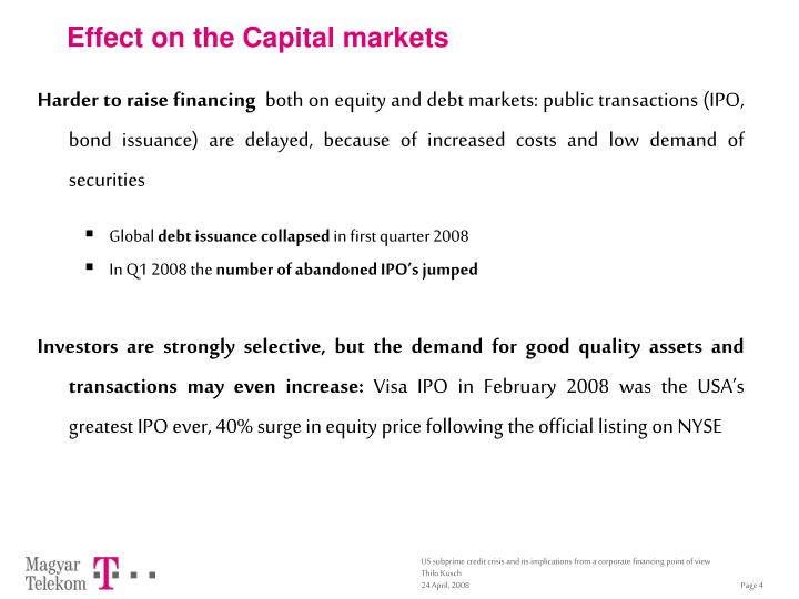 Effect on the Capital markets
