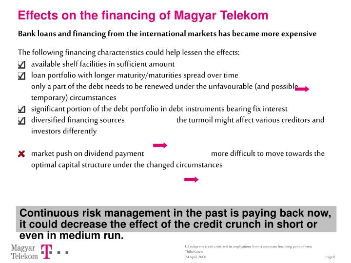 Effects on the financing of Magyar Telekom