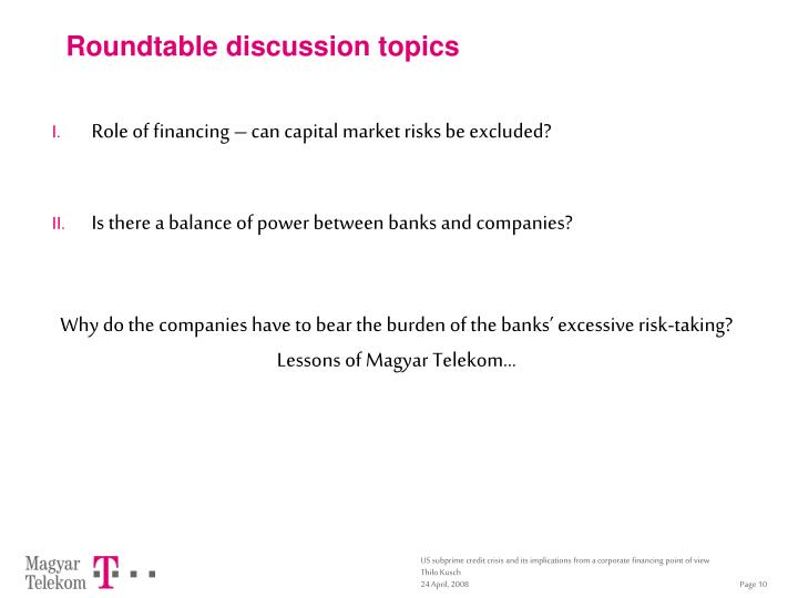 Roundtable discussion topics