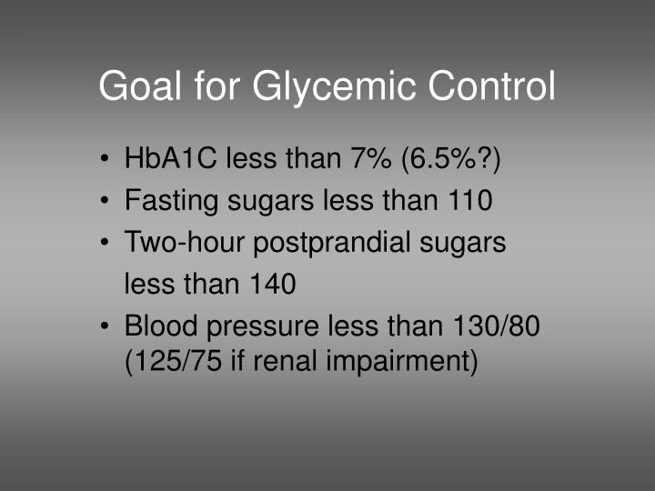 Goal for Glycemic Control