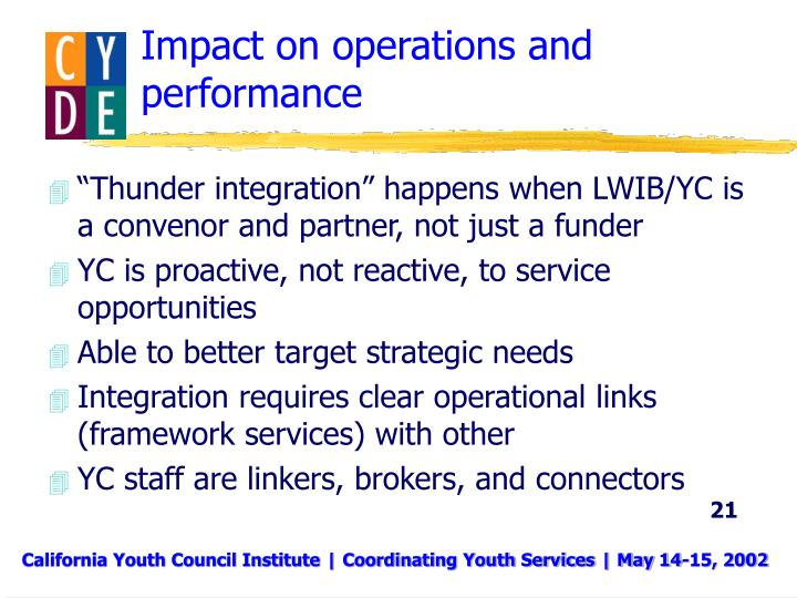 Impact on operations and performance