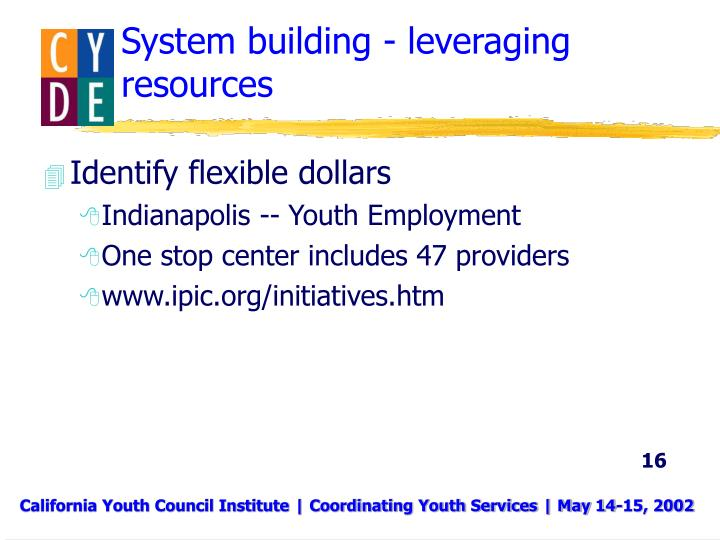System building - leveraging resources