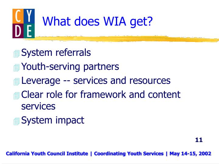 What does WIA get?