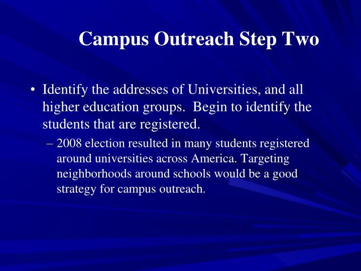 Campus Outreach Step Two