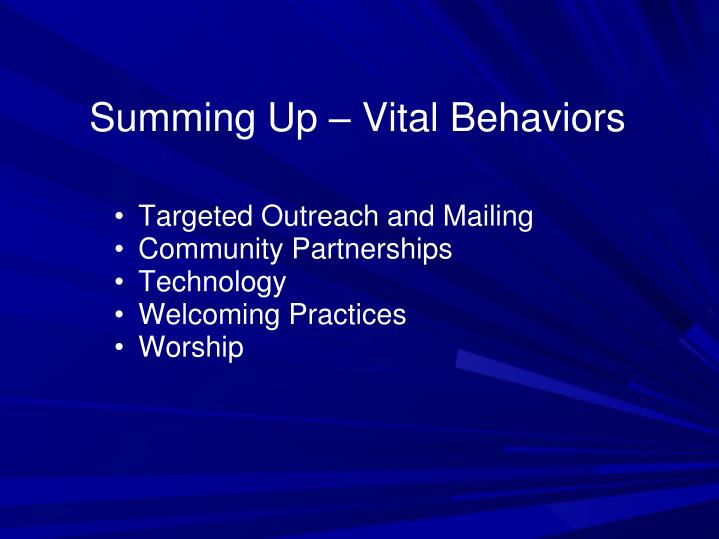 Summing Up – Vital Behaviors