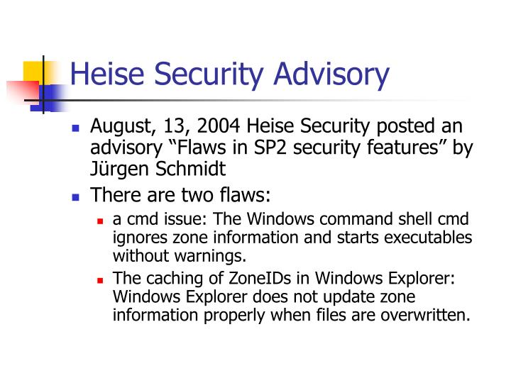 Heise Security Advisory