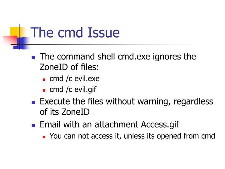 The cmd Issue