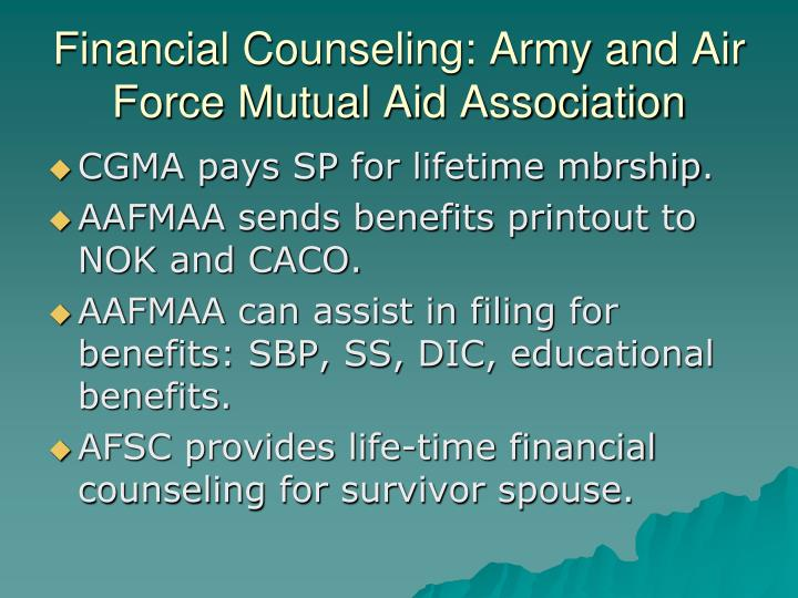 Financial Counseling: Army and Air Force Mutual Aid Association