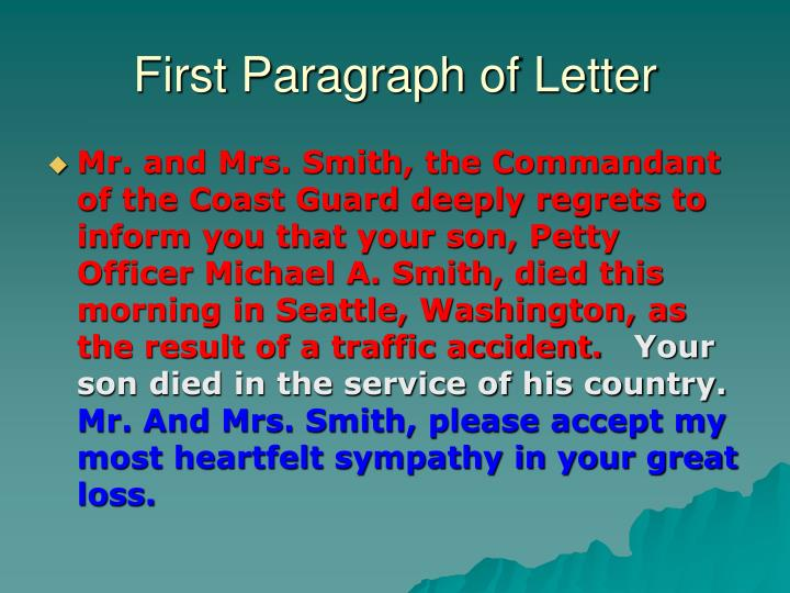 First Paragraph of Letter