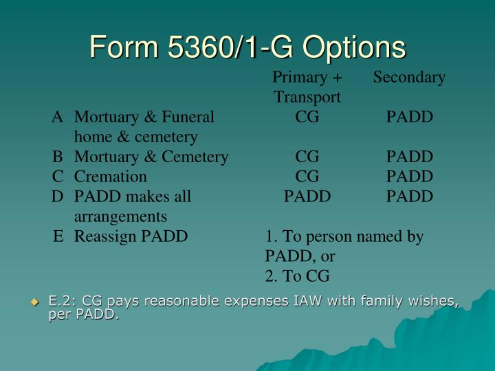 Form 5360/1-G Options
