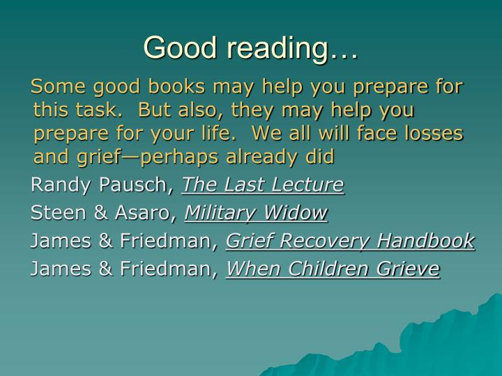 Good reading…