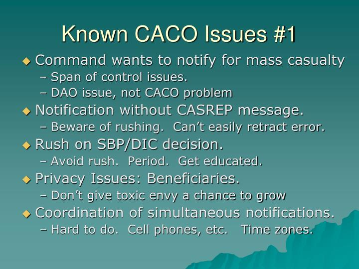 Known CACO Issues #1