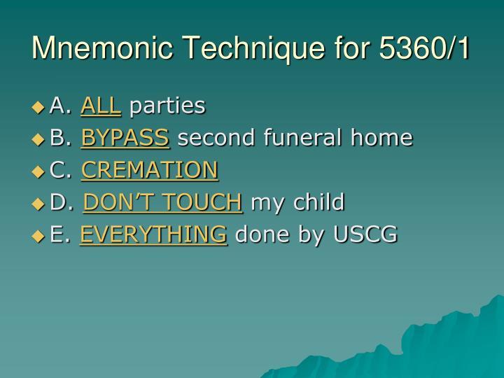 Mnemonic Technique for 5360/1