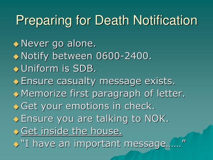 Preparing for Death Notification