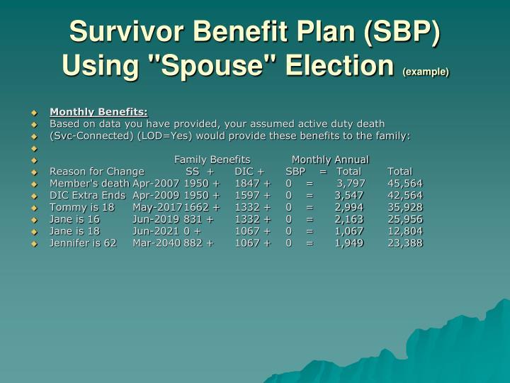"""Survivor Benefit Plan (SBP) Using """"Spouse"""" Election"""