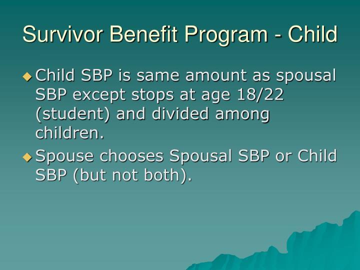 Survivor Benefit Program - Child
