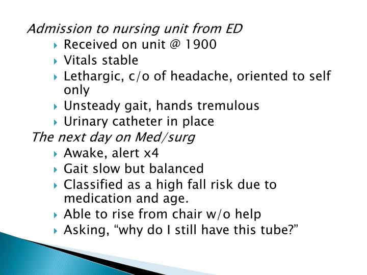 Admission to nursing unit from ED