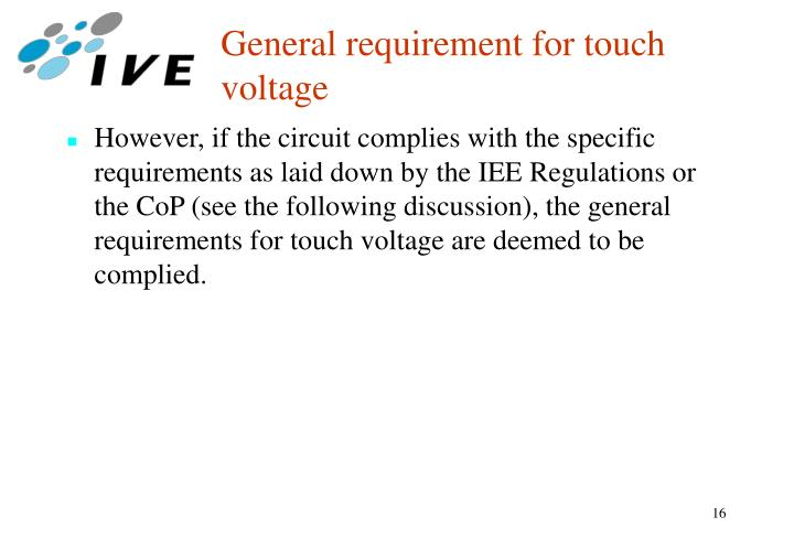 General requirement for touch voltage