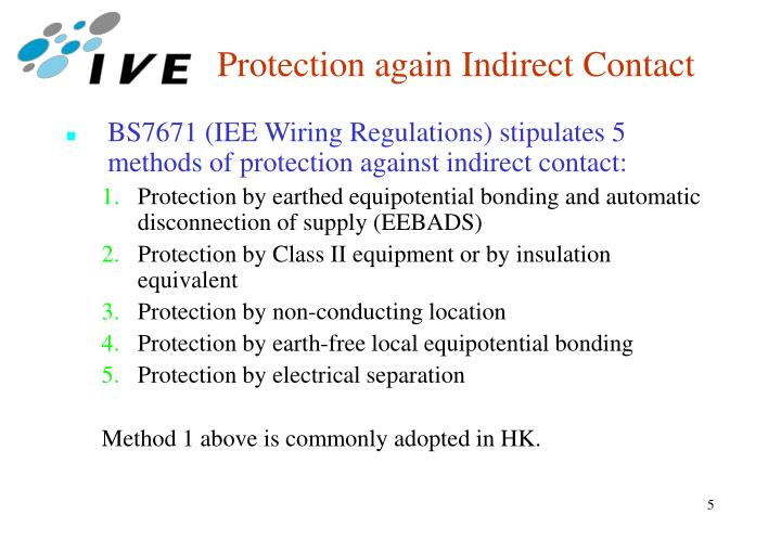 Protection again Indirect Contact