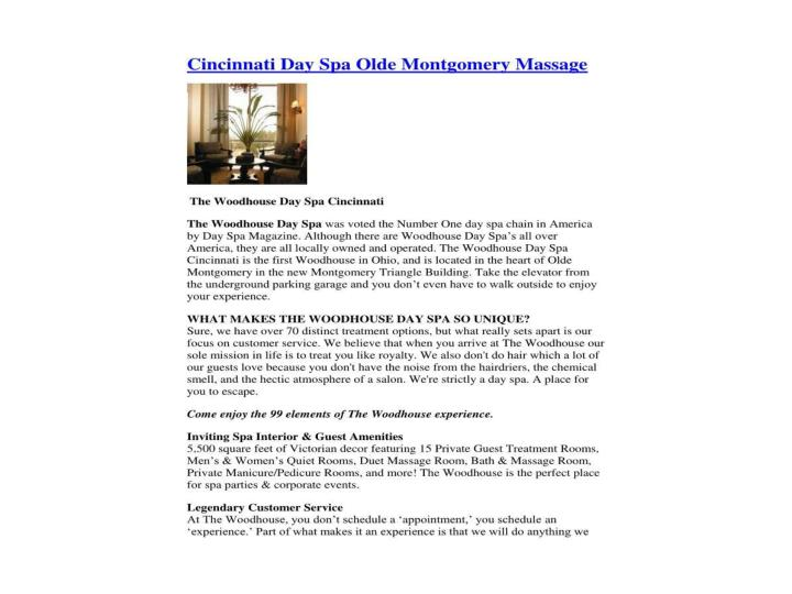 Cincinnati day spa olde montgomery massage