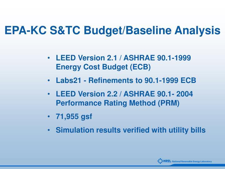 EPA-KC S&TC Budget/Baseline Analysis