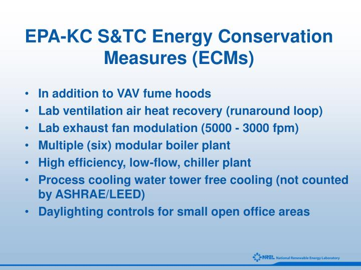 EPA-KC S&TC Energy Conservation Measures (ECMs)