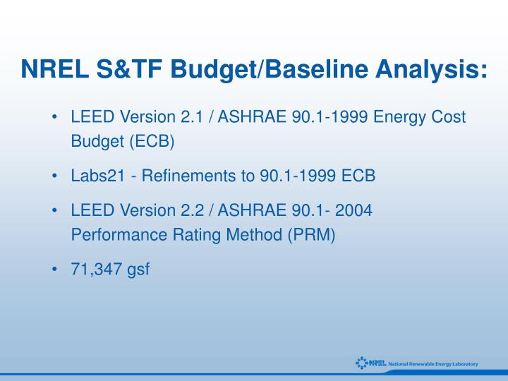NREL S&TF Budget/Baseline Analysis: