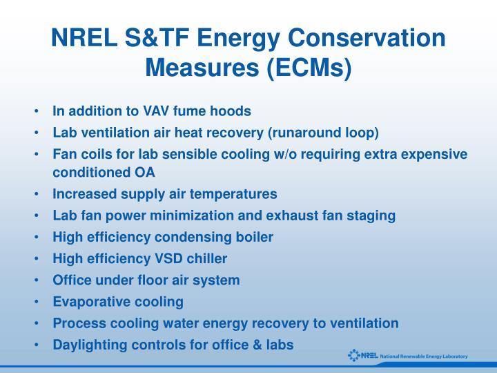 NREL S&TF Energy Conservation Measures (ECMs)