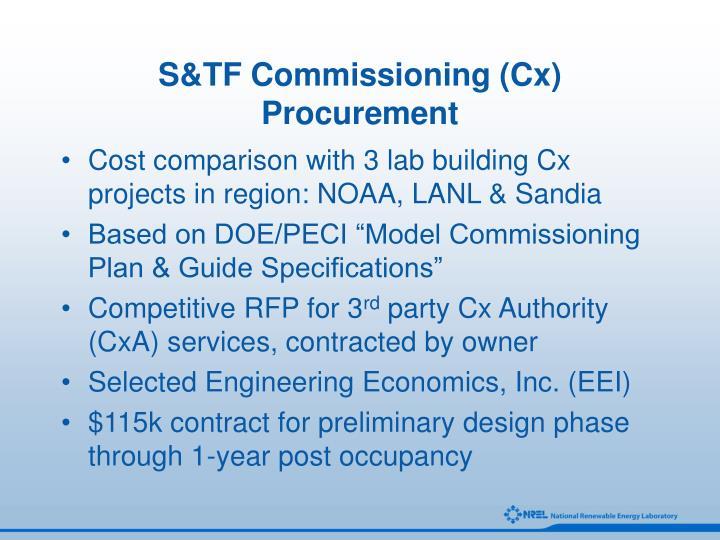 S&TF Commissioning (Cx) Procurement