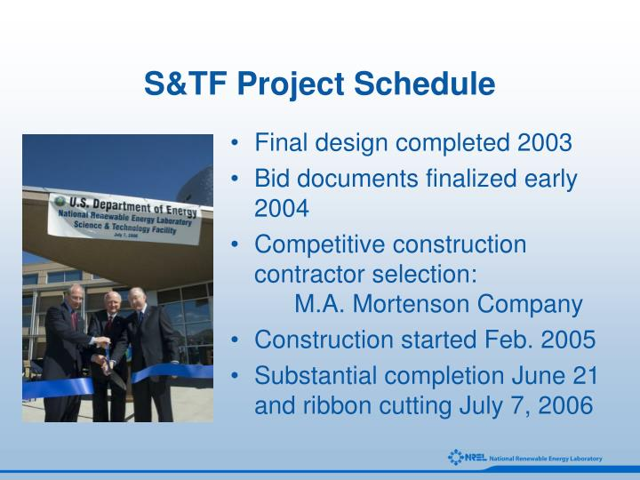 S&TF Project Schedule