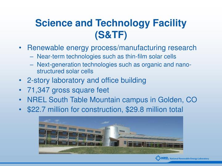 Science and technology facility s tf
