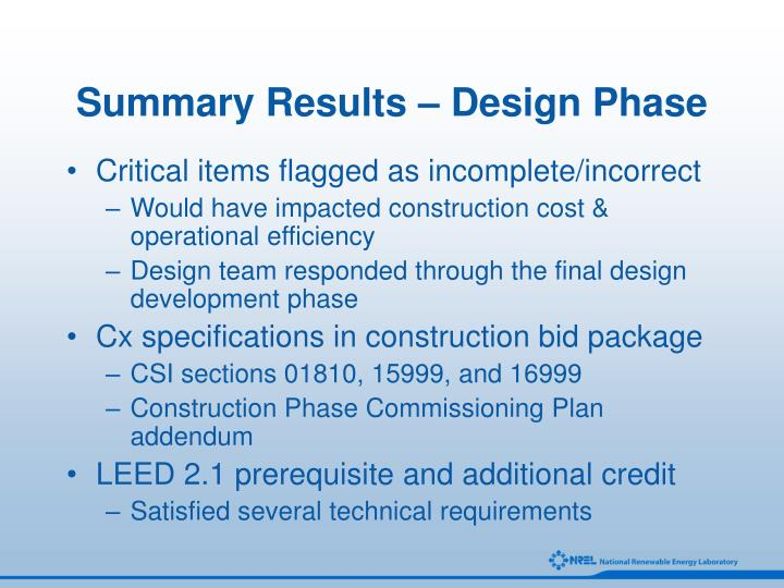 Summary Results – Design Phase