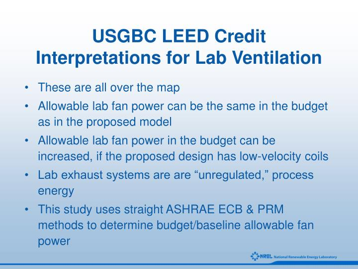 USGBC LEED Credit Interpretations for Lab Ventilation