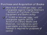 purchase and acquisition of books