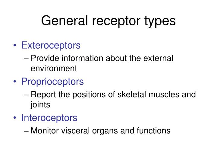 General receptor types