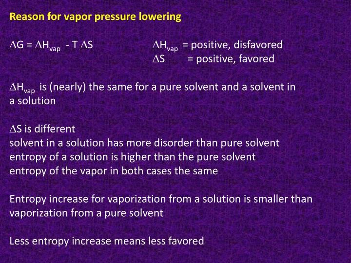 Reason for vapor pressure lowering